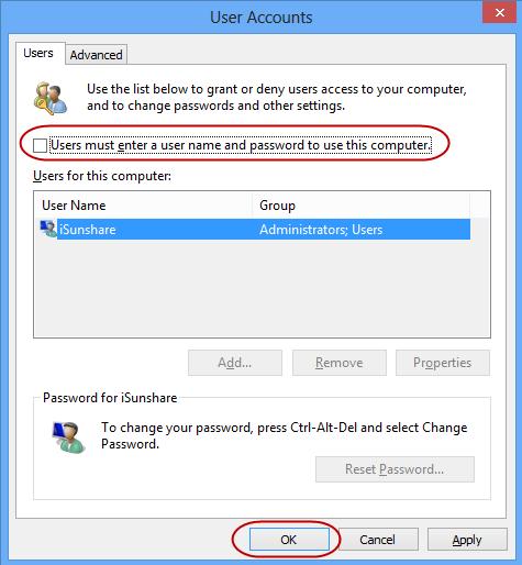 don't choose user password