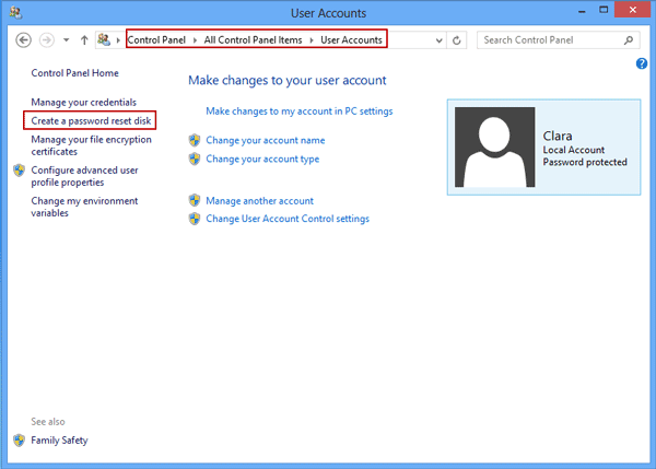Image 3: entrance to create password reset disk