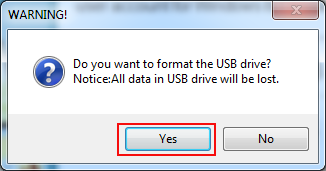 click yes to format usb