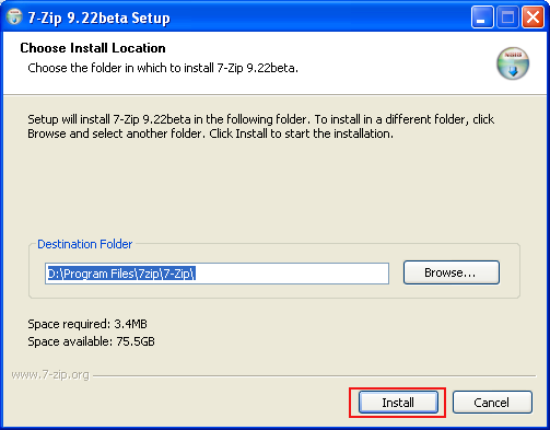 install-7-zip-9.22beta-set-up