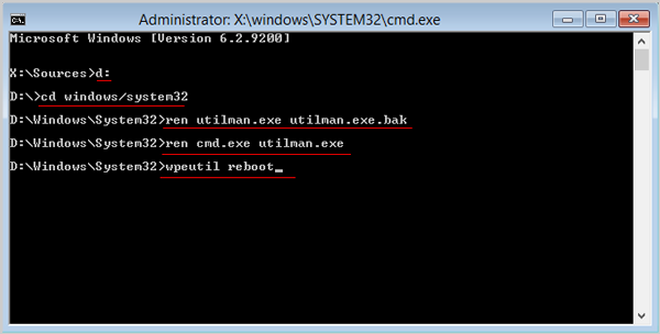 recover windows server 2008 password with command line