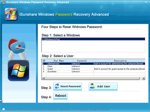 select-system-account-and-click-reset-password
