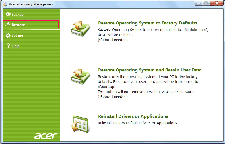 Factory Reset Acer Aspire Laptop After Password Forgot