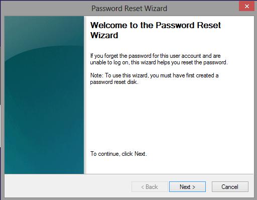 forgotten windows 8 password reset wizard