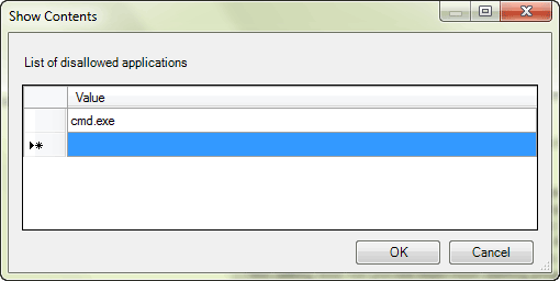 add apps to forbid in windows 7