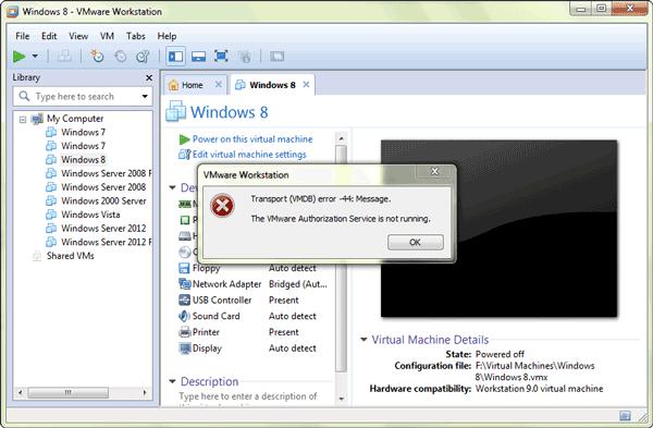vmware-authorization-service-not-run