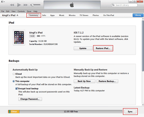 sync iOS device to computer with iTunes