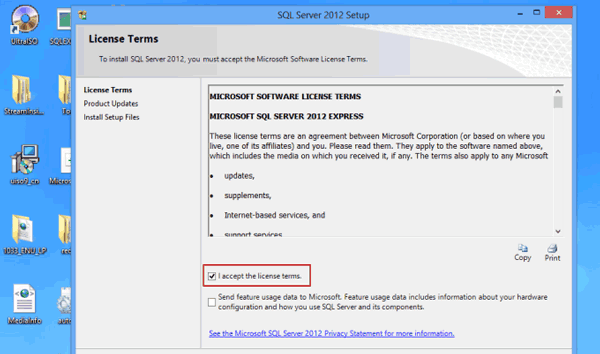 accept SQL Server 2012 Setup license terms