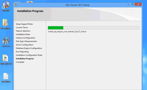begin to install SQL Server 2012 features