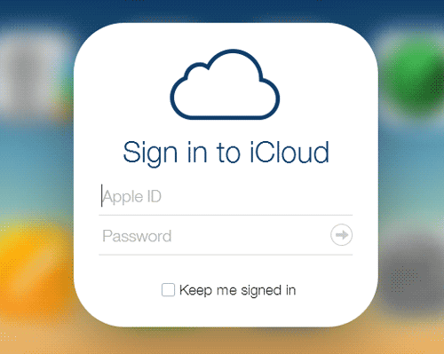 login into iCloud with Apple ID