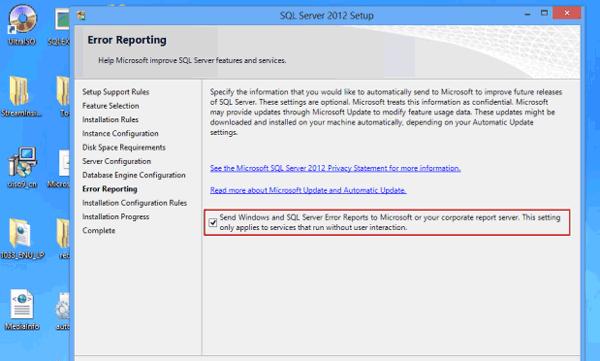 set SQL Server 2012 error reporting