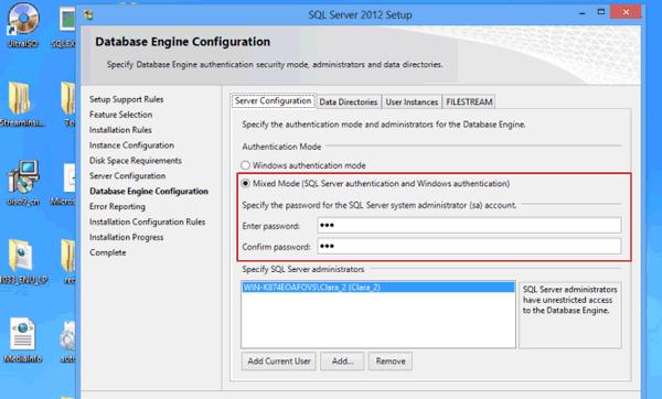 specify SQL Database Engine authentication mode