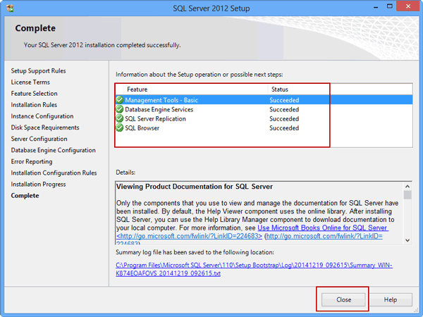 successfully install SQL Server 2012 on virtual machine