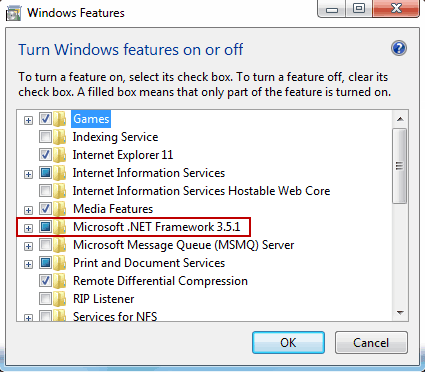 How to Turn on  Net Framework 3/3 5/4/4 5 Windows 7/8 Features