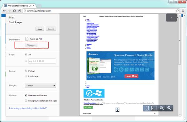 change webpage saving destination