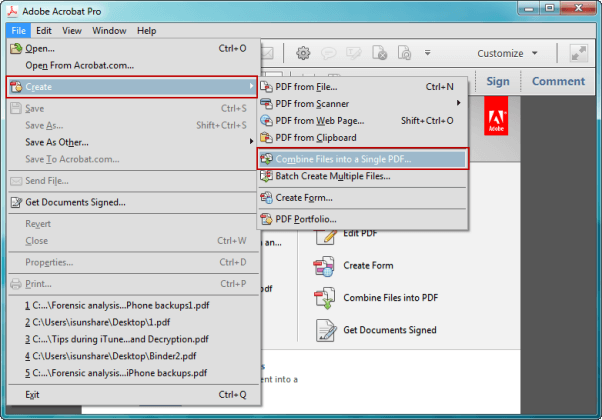 create PDF file by combining files