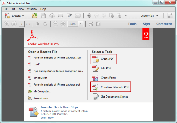 create PDF file in Adobe Acrobat Pro