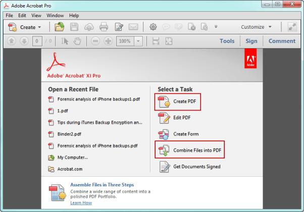 create PDF file in Adobe Acrobat Pro