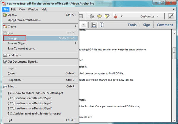 reduce PDF file size by save as