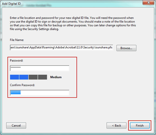set a password for digital ID file