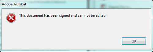 cannot edit signed PDF document
