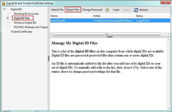 remove digital ID file