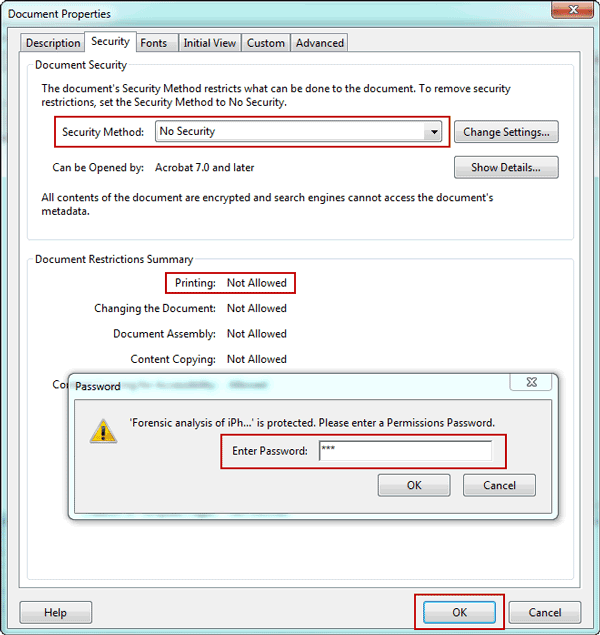 remove security from PDF file