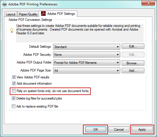 set Adobe PDF printing preferences