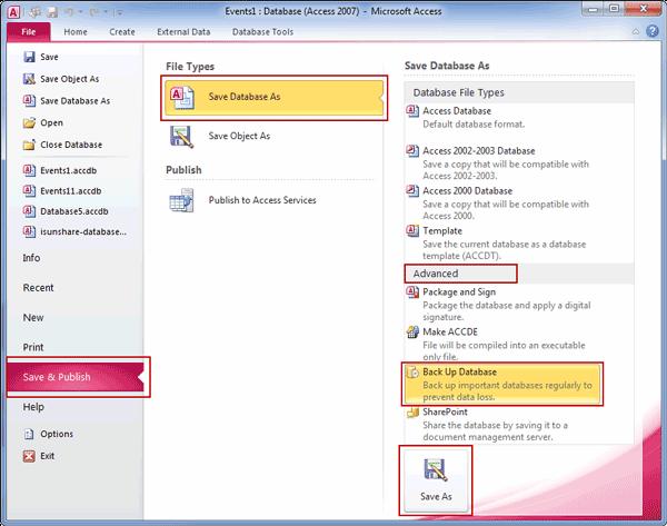 backup access database