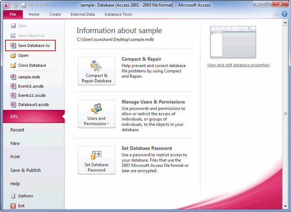 choose to save mdb database as in access 2010