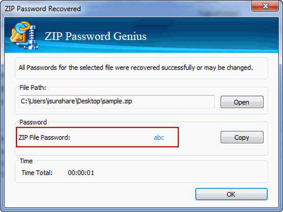 get zip file forgotten or lost password