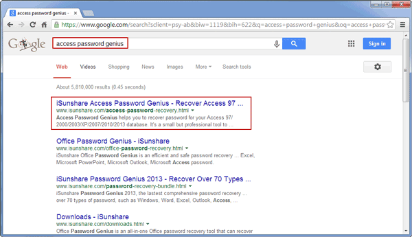 search access password recovery in Google