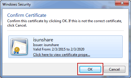 select certificate to sign access database