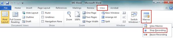 stop recording macro in word 2010