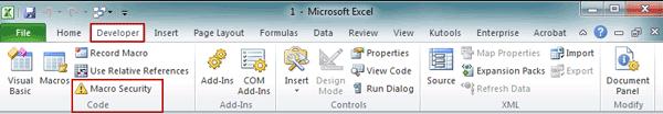 choose Macro Security option in Developer ribbon