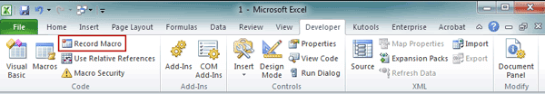 choose to record macro in excel 2010