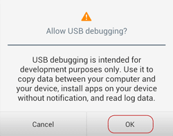 allow Android phone USB debugging
