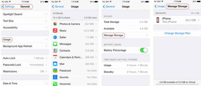 check and manage iPhone storage