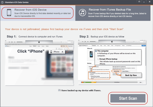 iPhone data recovery with iSunshare iOS Data Genius