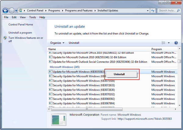 prepare to uninstall specific windows update