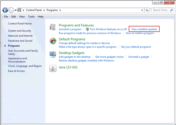 view windows installed updates