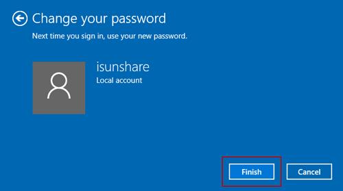 finish removing windows 10 password