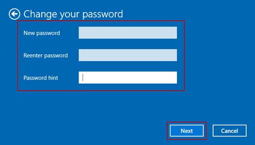 not set new password for windows 10 user