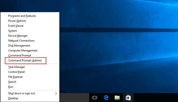 open windows 10 command prompt with short keys