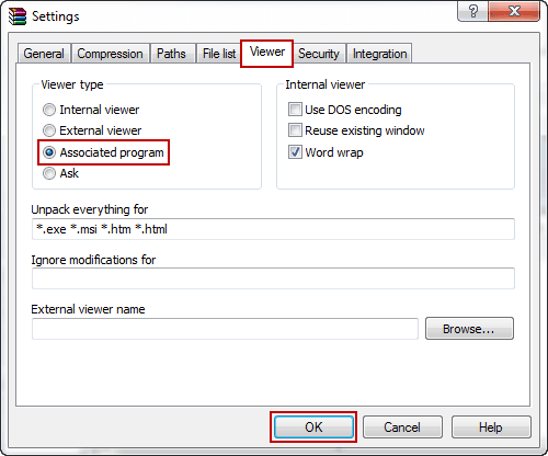 change viewer settings in WinRAR