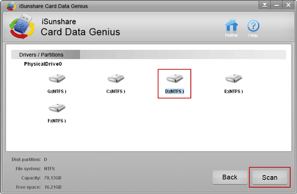 choose sd card to scan data