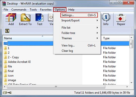 choose WinRAR settings option