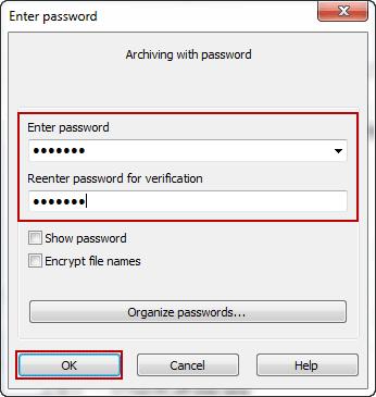 create default archive password