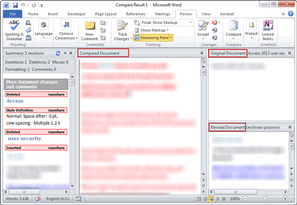 difference between two word documents