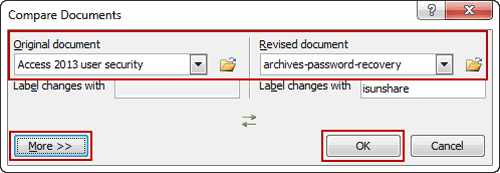 select compared word documents